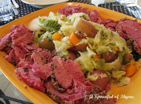 a spoonful of thyme corned beef and cabbage