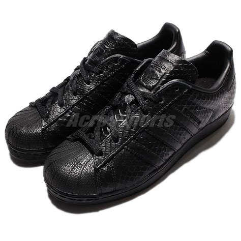 adidas originals superstar w black snakeskin leather womens casual shoes s76147 ebay
