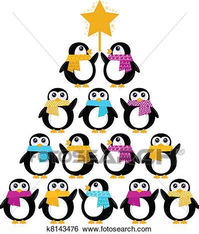 creare clipart clip carino pinguini creare albero natale