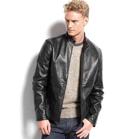 Jacket Calvin lyst calvin klein mens leather moto jacket in black for