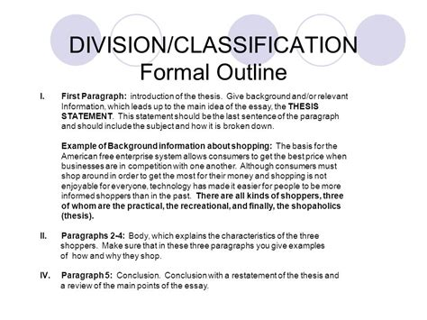 Division Classification Essay Exles by Division Classification Definitions Ppt