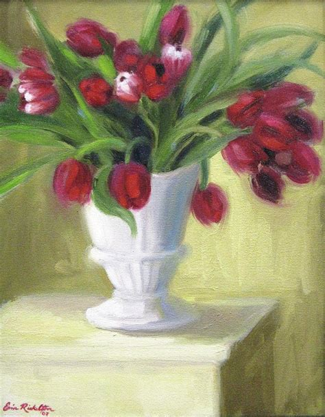 Pictures Of Tulips In Vases by Tulips In White Vase Painting By Erin Rickelton