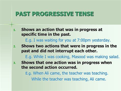 the pattern of past continuous tense past time simple past tense past progressive tense ppt