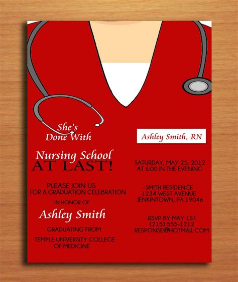 nursing graduation invitation templates scrub top nursing degree graduation