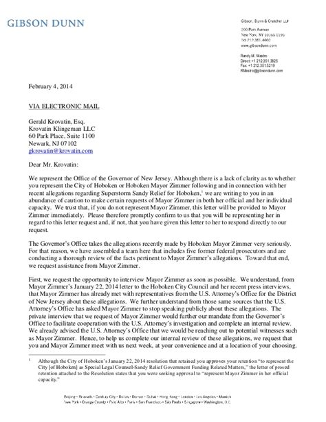 Business Letter Format Sent Via Fax Letter Of Randy Mastro On Zimmer Christie