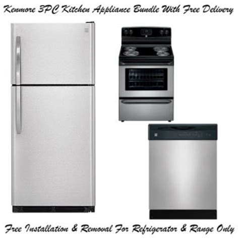 kenmore kitchen appliance packages kenmore 3 piece stainless steel kitchen appliance package
