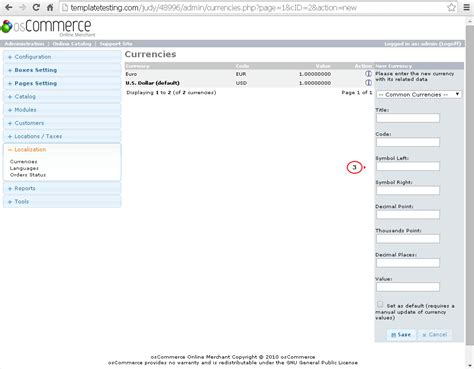 One One Default oscommerce how to manage currencies and setup default one