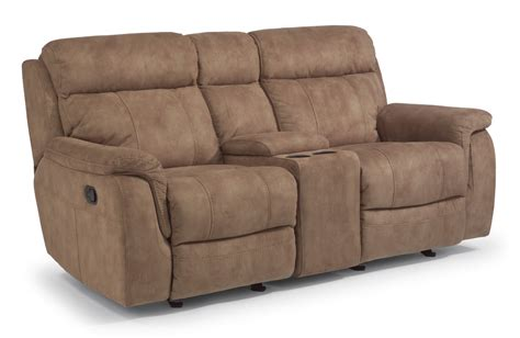 gliding loveseat recliner flexsteel fabric gliding reclining loveseat with console