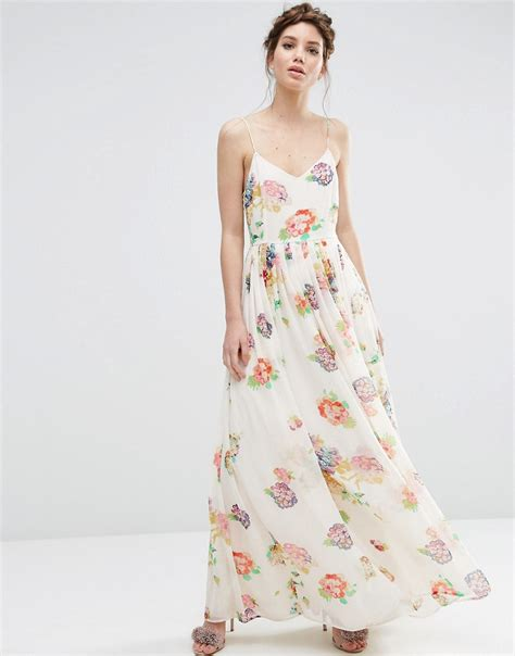 Print Strappy Dress asos asos strappy pleated maxi dress in floral print at asos