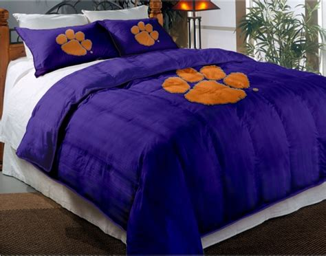 clemson bedding clemson tigers college twin chenille embroidered comforter set with 2 shams 64 quot x 86 quot