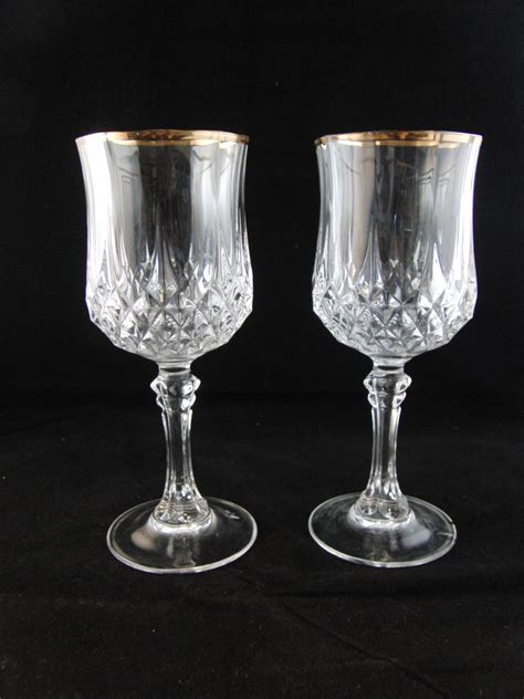 Crystal Wine Glasses | genuine lead crystal wine glasses with gold trim 2 glasses