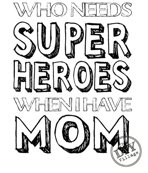 coloring pages for your mom mom superhero printable the diy village