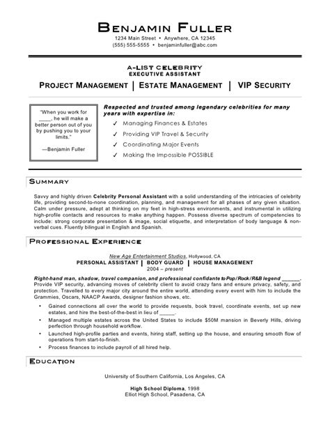 Personal Assistant Description Resume personal assistant resume by c coleman