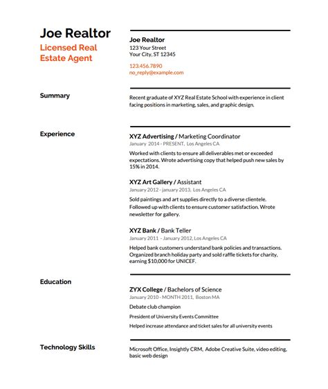 resume template for real estate agents real estate resume writing guide with template