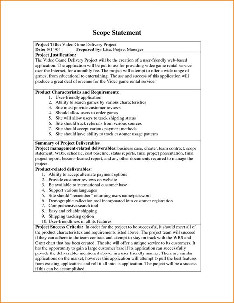 project scope statement template 8 project scope statement exles letter template word