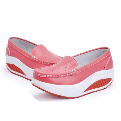 sneakers for nurses womens genuine leather platform slip on