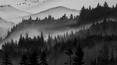 Painting White black and white forest painting timelapse