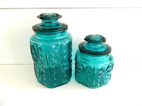teal glass canisters vintage kitchen canisters atterbury vintage aqua blue glass candy storage jars container