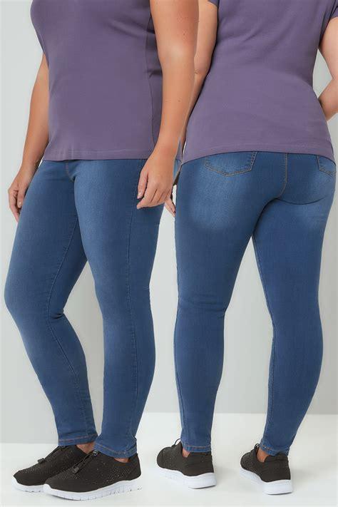 Leg 200 Medium Size Ekman Grab Sler Bottom Grab Sler blue washed pull on stretch shaper jeggings plus size 16 to 32