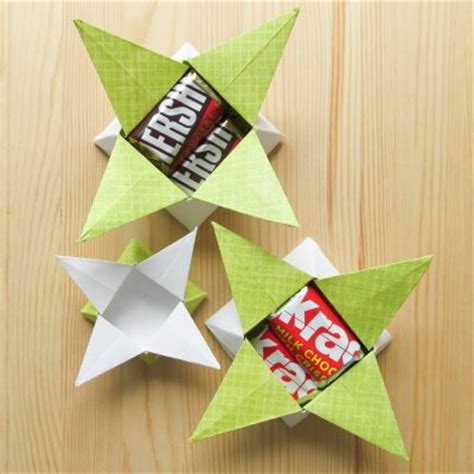 Origami Treat Box - four point origami treat box family crafts