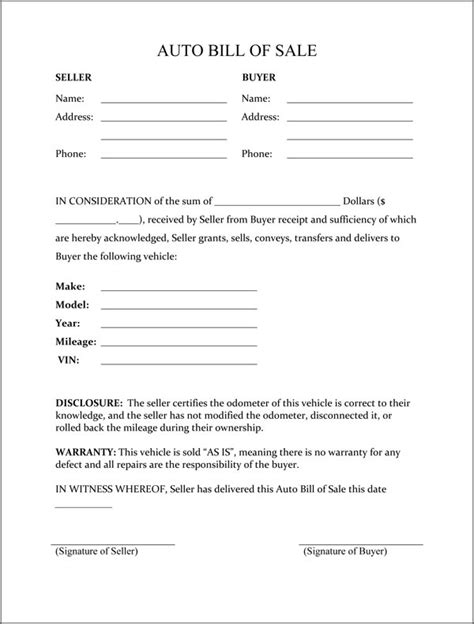bill of sale form template vehicle bill of sale form free printable documents