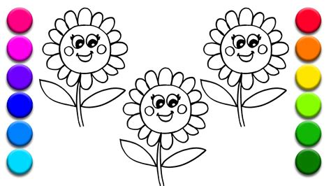 flowers by color coloring 3 flowers learning colors for with coloring