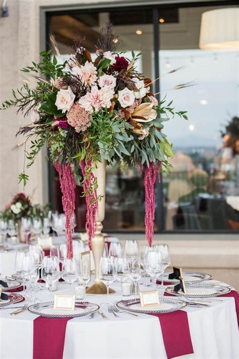 chagne and burgundy wine country wedding floral arrangement wedding inspiration board