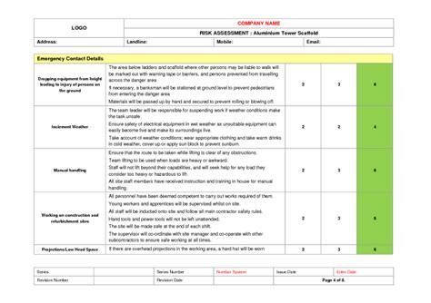 scaffolding risk assessment template tower scaffold risk assessment exle to