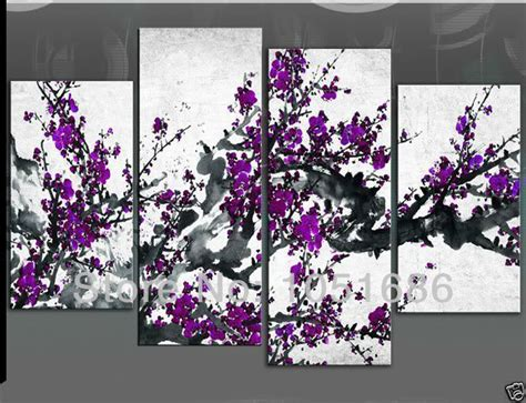 purple wall decor four panel white background colours large plum handmade 4 piece modern abstract flower purple painting