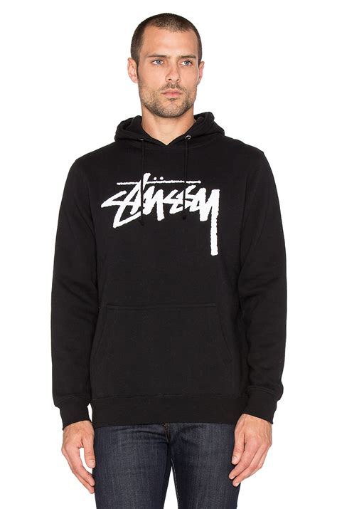 Hoodie Stussy Second lyst stussy stock embroidered hoodie in black for