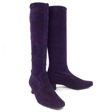 purple boots kaiser aila pull on stretch suede purple boots