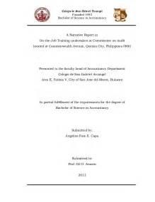 Certification Letter For Ojt Completion Narrative Report In Ojt