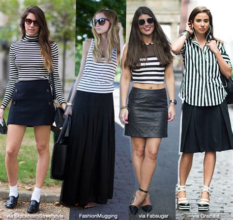 how to wear basic striped top black skirt blue is