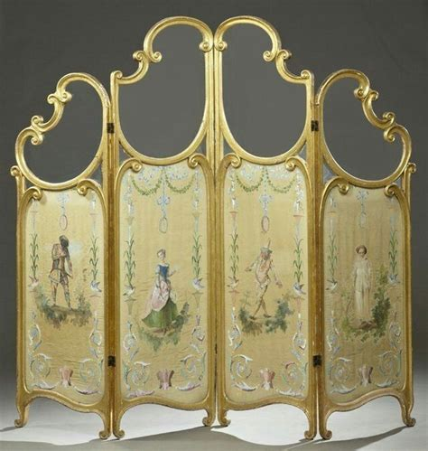 french style  panel giltwood dressing screen