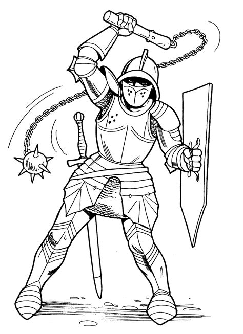 coloring book pages knights coloring page knight with mace