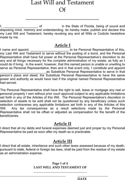 Download Florida Last Will And Testament Form For Free Formtemplate Free Florida Will Templates