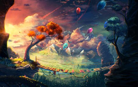 anime artwork fantasy art mountain bridge balloons