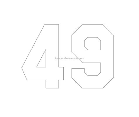printable jersey number stencils free jersey printable 49 number stencil