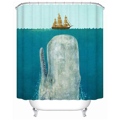 y shower curtain angry whale rammed the boat waterproof shower curtain