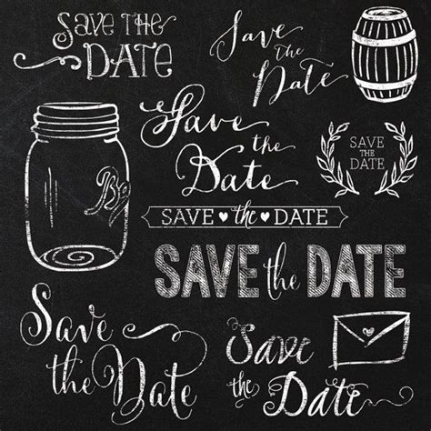 black and white save the date lettering on white background