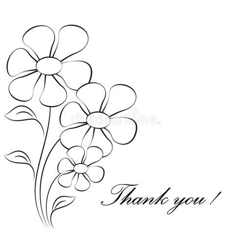 thank you card template flowers flower illustrations thank you card stock illustration