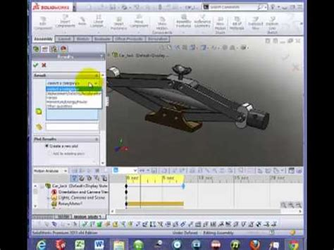 tutorial solidworks motion analysis solidworks motion tutorial motor gravity plot results