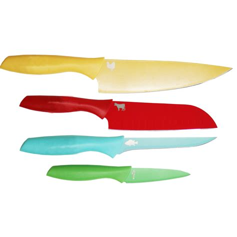 coloured kitchen knives martha stewart collection 4 pc color coded cutlery set