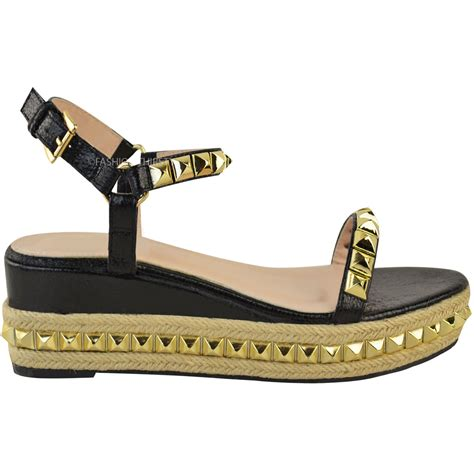 womens studded low wedge espadrille sandals
