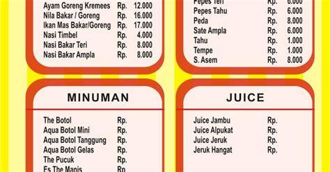 desain daftar menu jus contoh desain daftar menu makanan dan minuman desainer