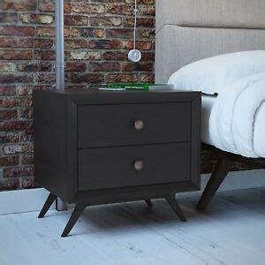 mid century modern black wood  drawer bedroom nightstand