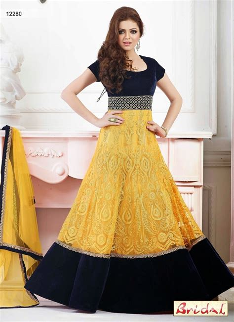net dress design excusive designs of yellow net anarkali dresses