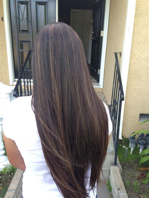 blonde and thin lowlights black straight hair with caramel highlights hairstyle