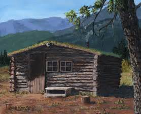 Wood Cabin Plans Trapper Cabin Painting By Timithy L Gordon