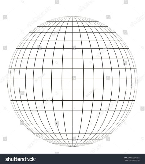 sphere template globe grid sphere pattern globe angering stock vector